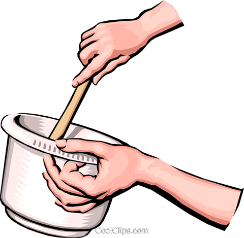 Hands preparing food Royalty Free Vector Clip Art.