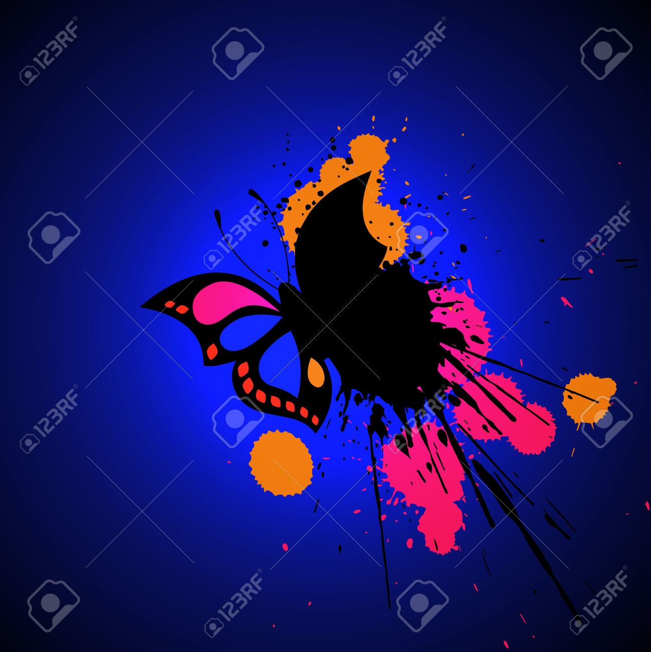 Bright Grunge Butterfly / Prepona Praeneste Royalty Free Cliparts.