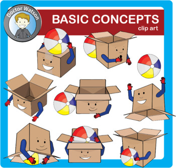 Basic concepts and prepositions Clipart.
