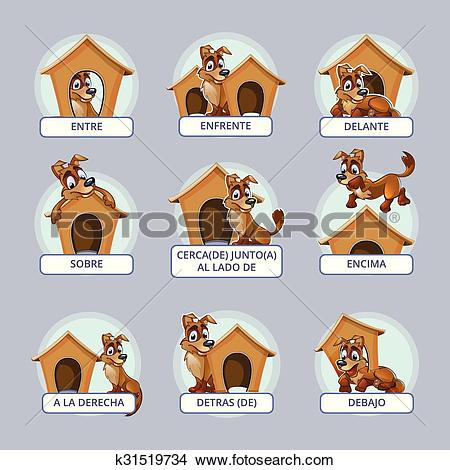 Clipart of Cartoon dog in different poses to illustrate Spanish.