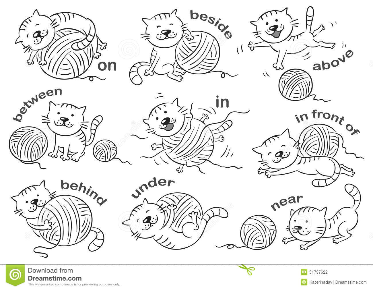 Prepositions Of Place Stock Vector.