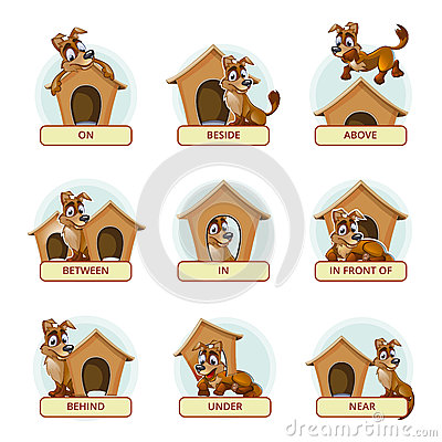 Prepositions Of Place, Colorful Cartoon Stock Vector.