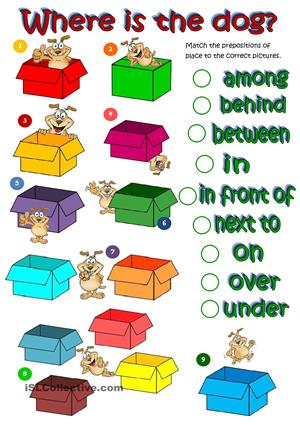 358 FREE ESL Prepositions of place worksheets.