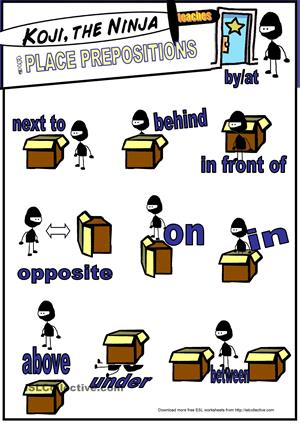 226 FREE ESL prepositions of place worksheets.