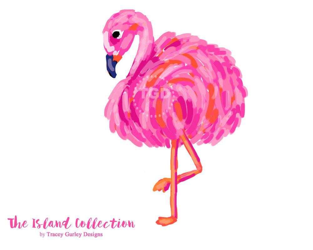 Preppy Flamingo clip art, pink and orange.
