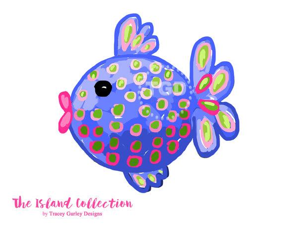 Preppy Fish clip art, Preppy polka dot fish clip art.