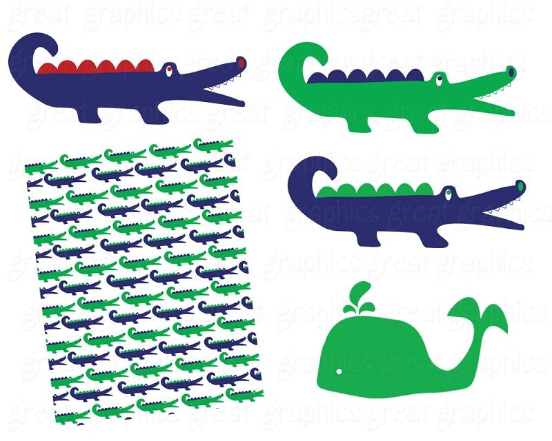 Preppy Alligator Clipart.