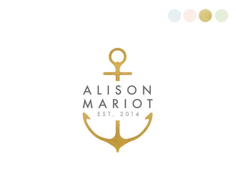 Anchor Logo Design. Nautical Logo. Ocean Logo. Preppy Logo.