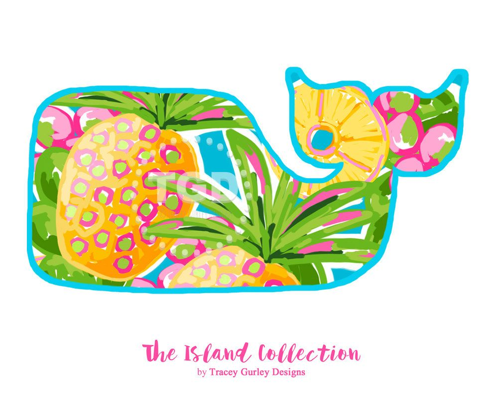 Preppy Whale with Pineapple Design clip art.
