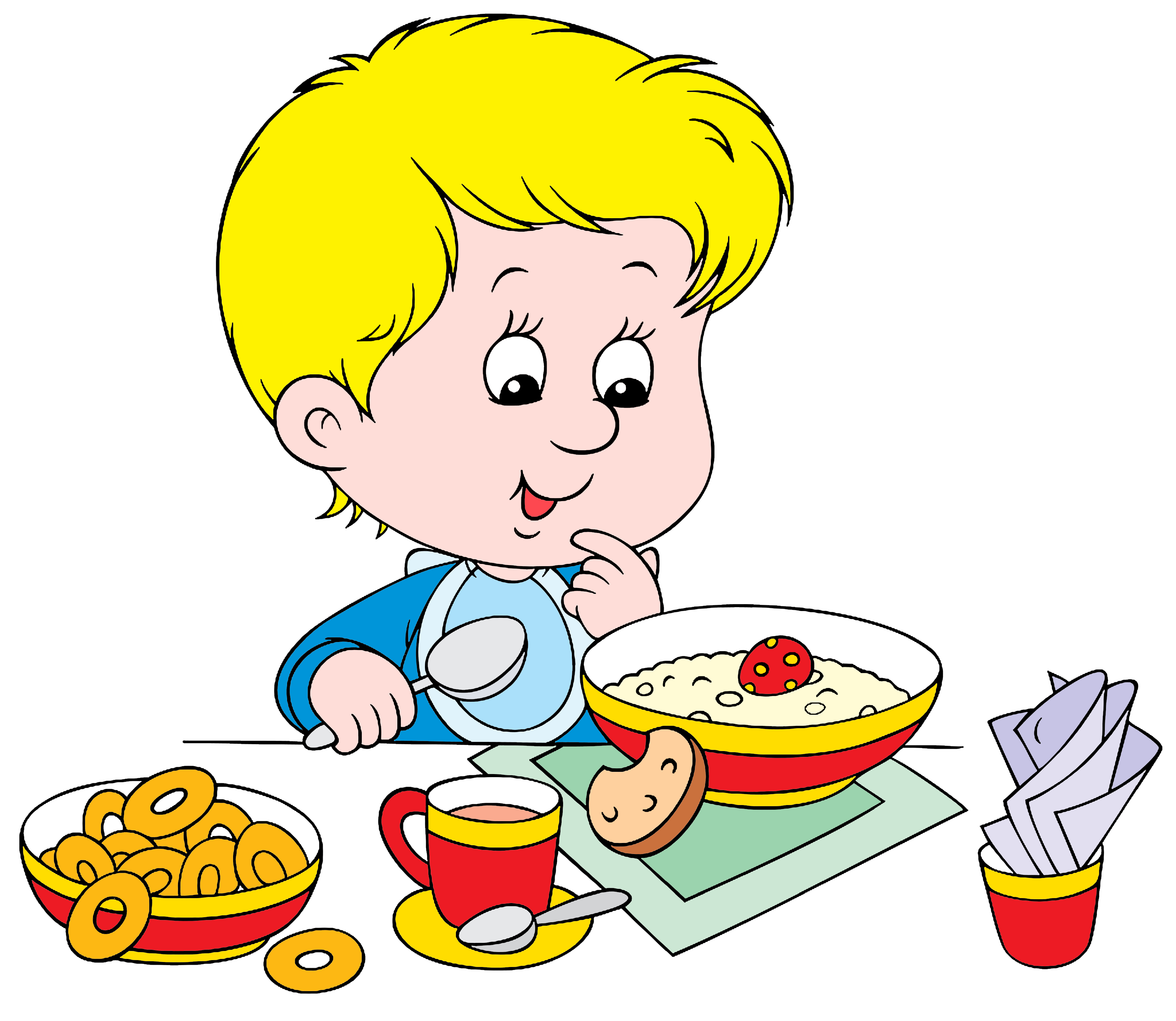 boy eating breakfast clipart.