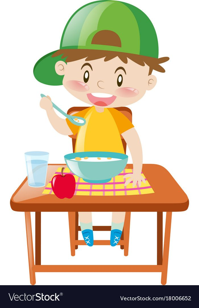 Little boy at dining table eating breakfast Vector Image.