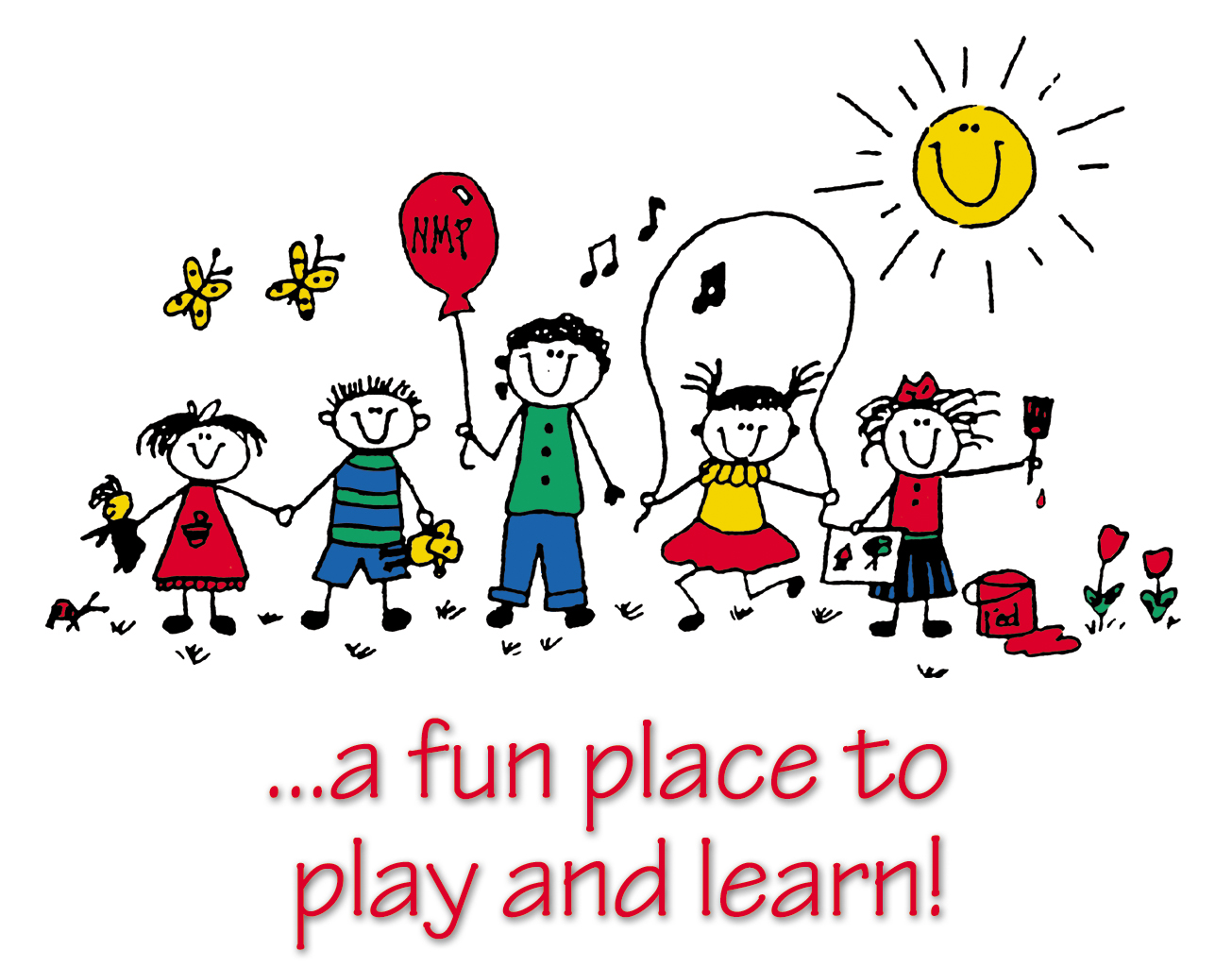Preschool Play Learn And Grow Together Clipart.