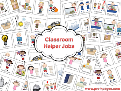 Classroom Helpers Chart in Preschool.