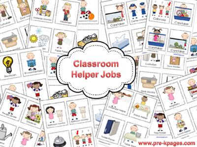 Classroom Helpers Chart in Preschool.