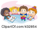 Preschool Kids At Table Clipart.