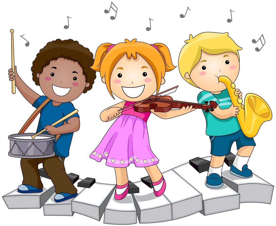 3 children playing musical instruments.