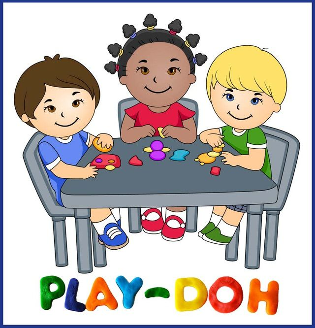 Clip Art Of Kids Playing With Play Doh Dixie Allan.