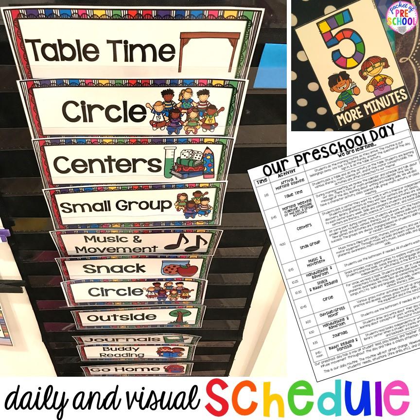 Preschool Daily Schedule and Visual Schedules.
