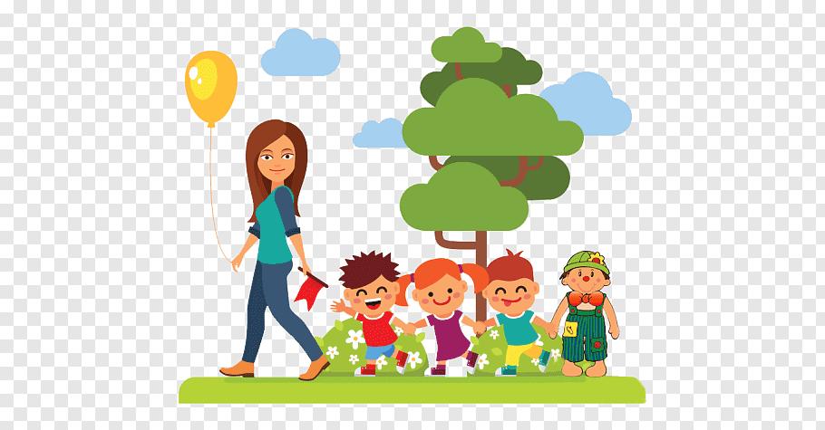 Children playing on grass field near tree, Preschool teacher.