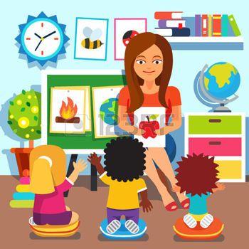 preschool: Kindergarten teacher woman teaching kids new.