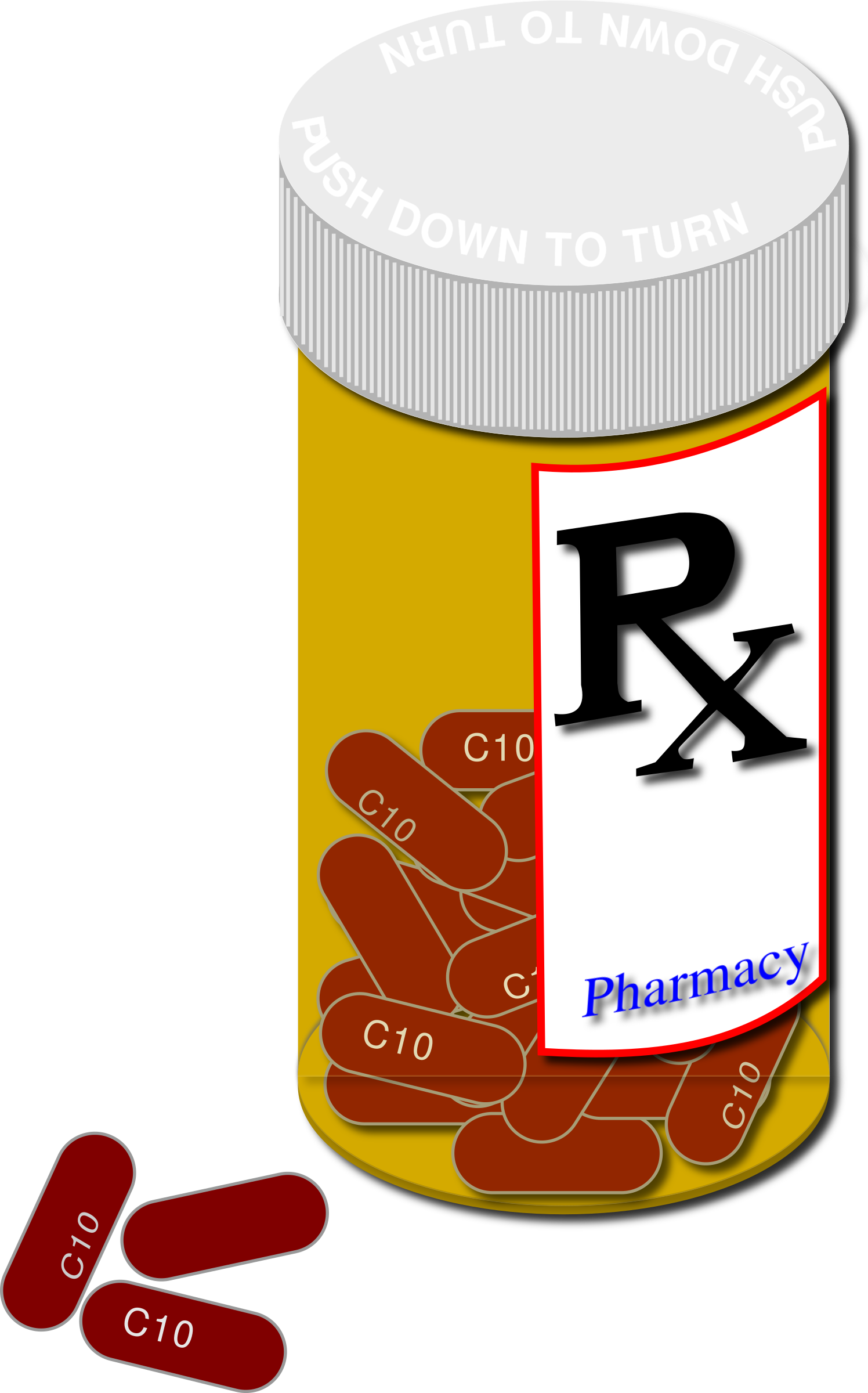 Clipart prescription bottle and pills.