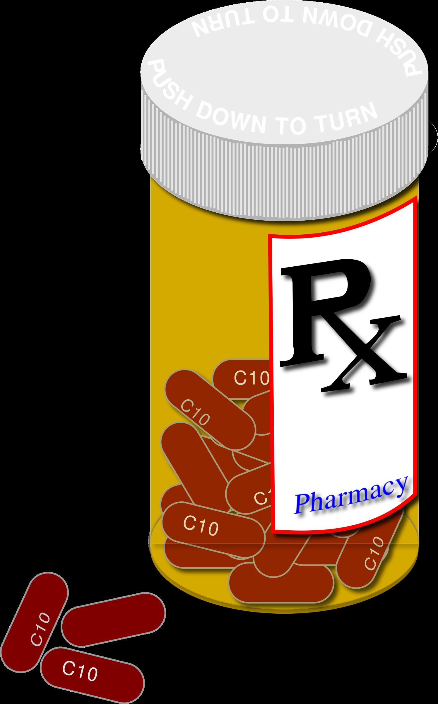 Clipart prescription bottle and pills.