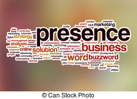 Clipart of Online Presence word cloud with magnifying glass.