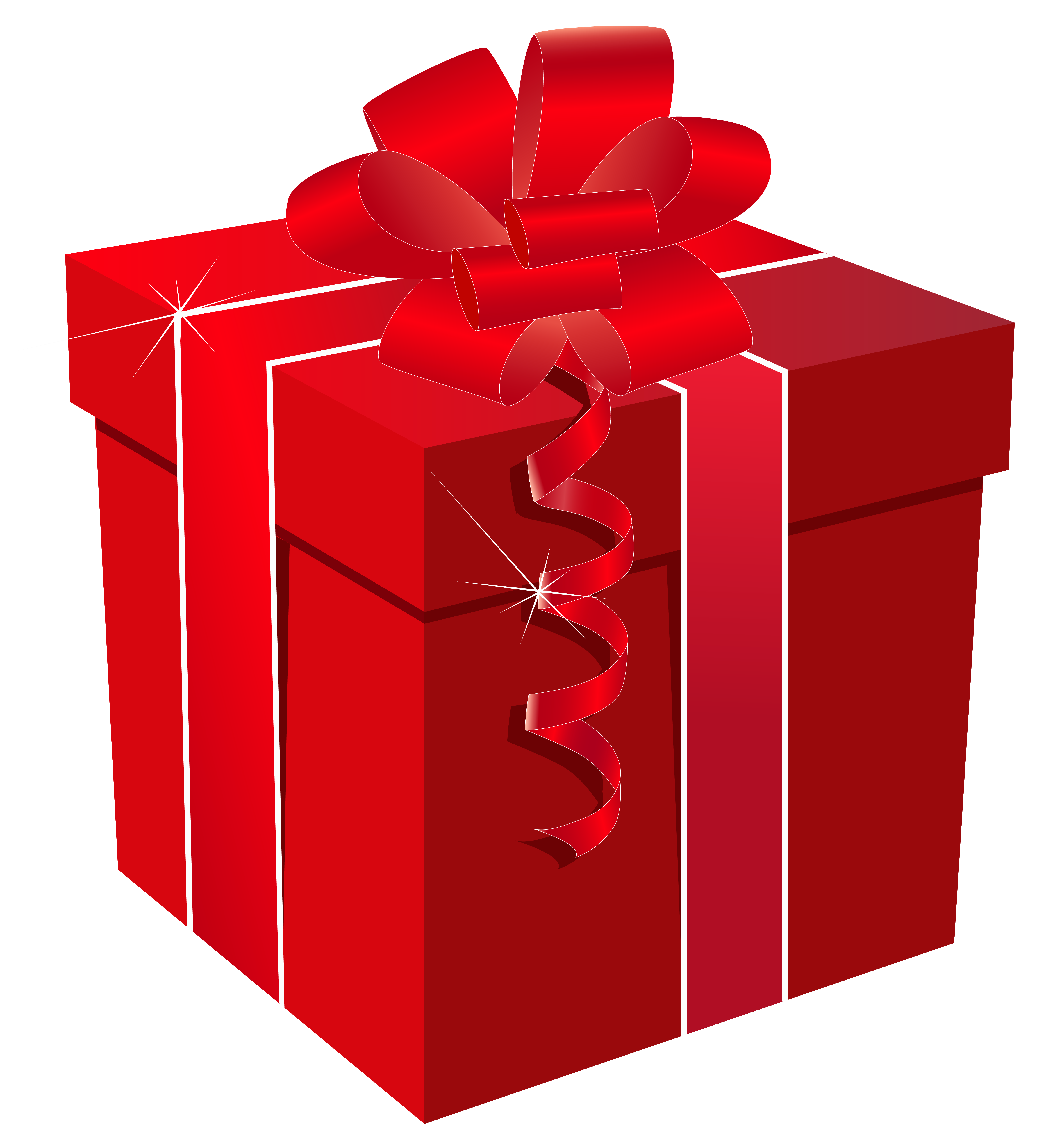 Red Gift Box with Red Bow PNG Clipart Image.