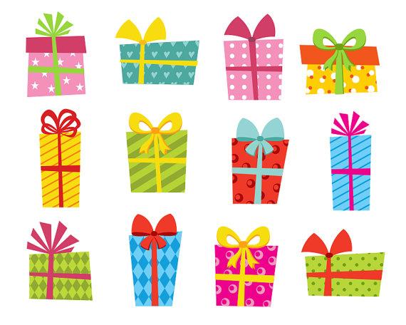 Presents Clip Art, Bright Gift Boxes Clip Art, Giftbox Clip.