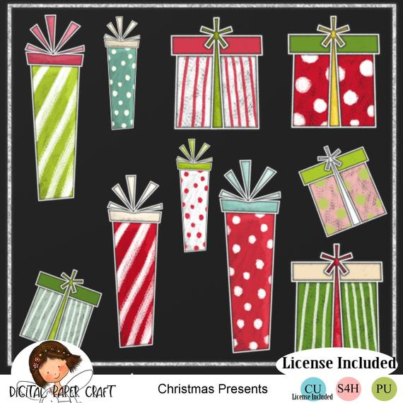 Present Clipart, Christmas Clipart, Chalk Clipart, Instant.