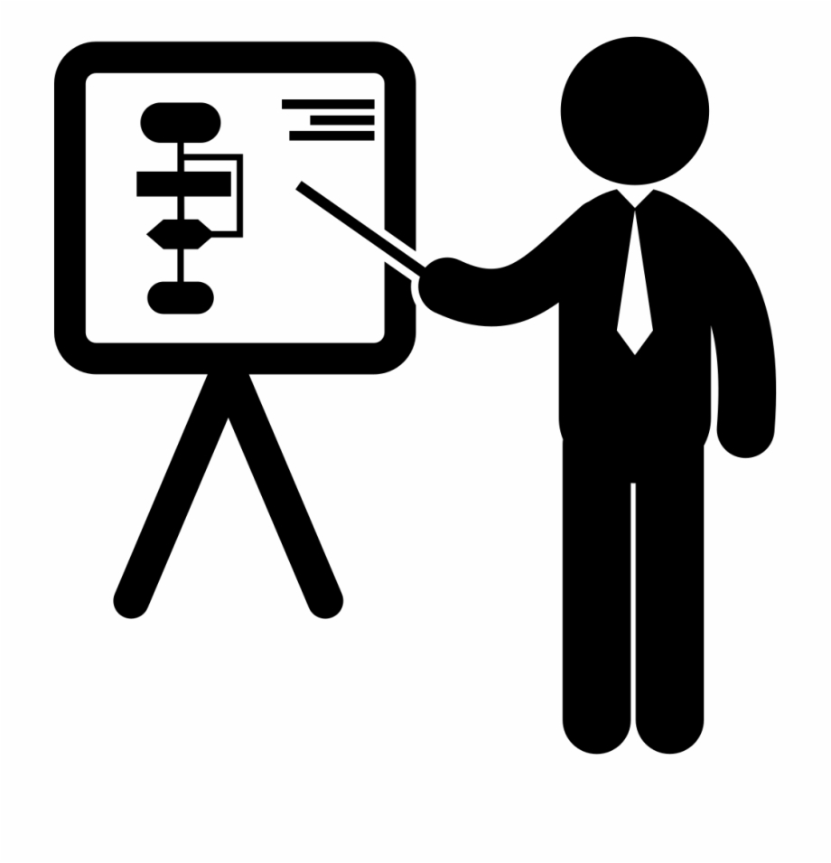 Businessman In A Presentation Pointing A Board With.