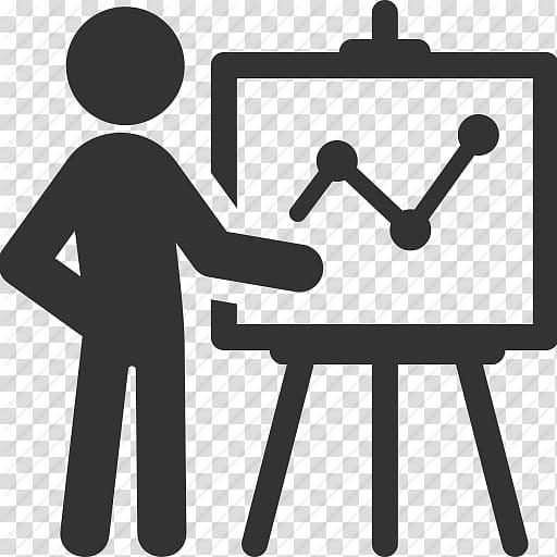 Stick man standing beside board logo, Presentation Computer.