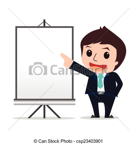 Vector Clipart of businessman presented cartoon eps 10 vector.