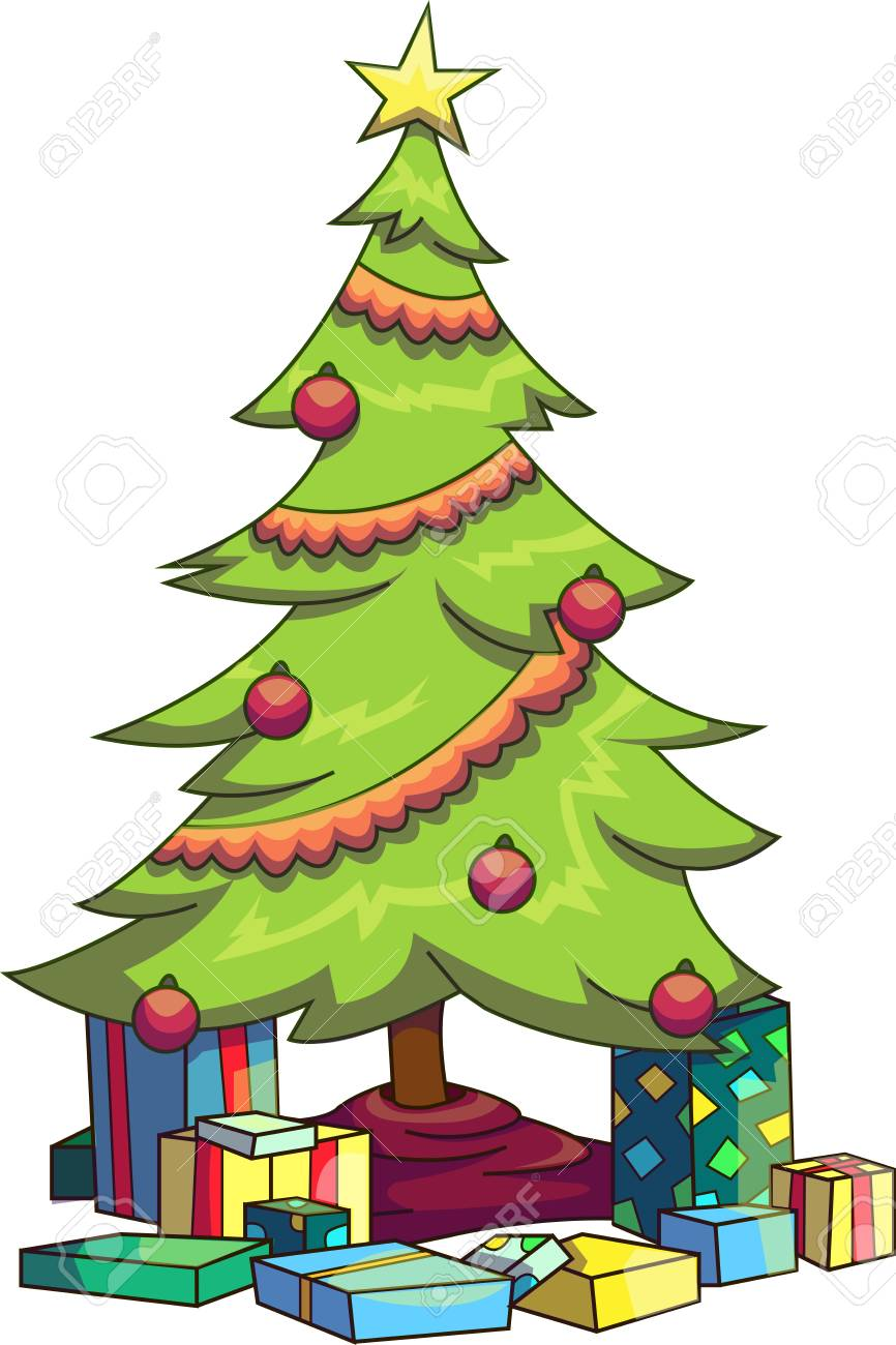Christmas Tree With Presents Under It Clipart.