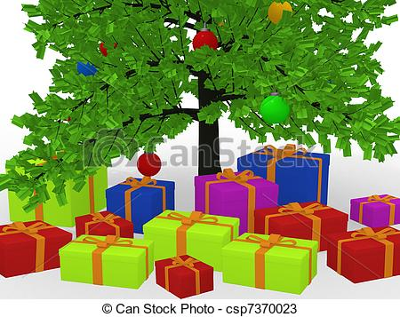 Presents Under The Christmas Tree Clipart.