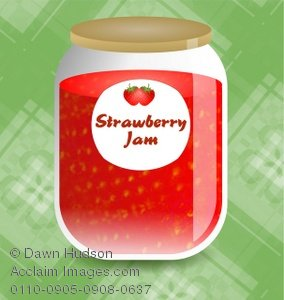 Clipart Illustration of a Jar of Strawberry Jam.