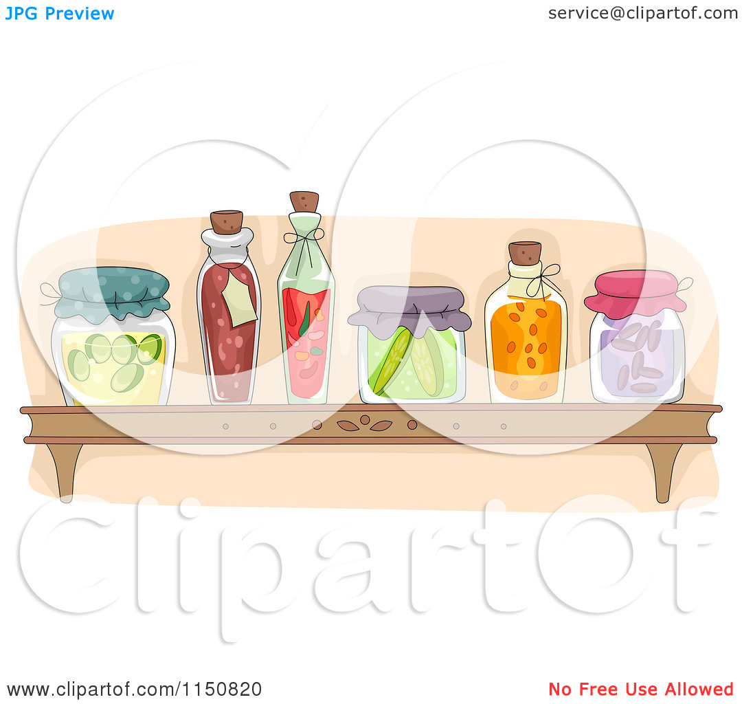 Cartoon of a Shelf of Preserved Foods in a Pantry.