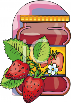 Strawberries and a Jar of Preserves.