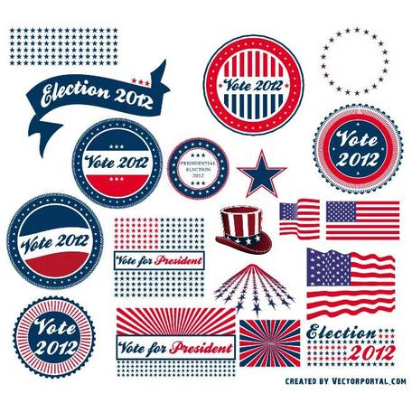 PRESIDENTIAL ELECTION VECTOR STICKERS.eps Clipart Picture.