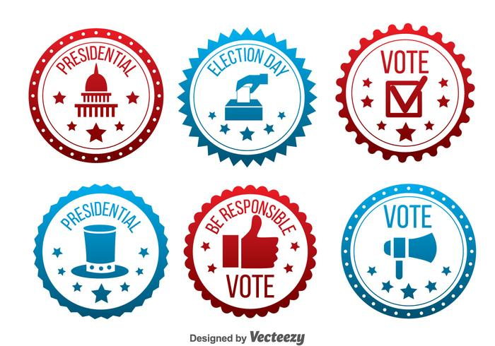 Red And Blue Presidential Election Badge Vector.