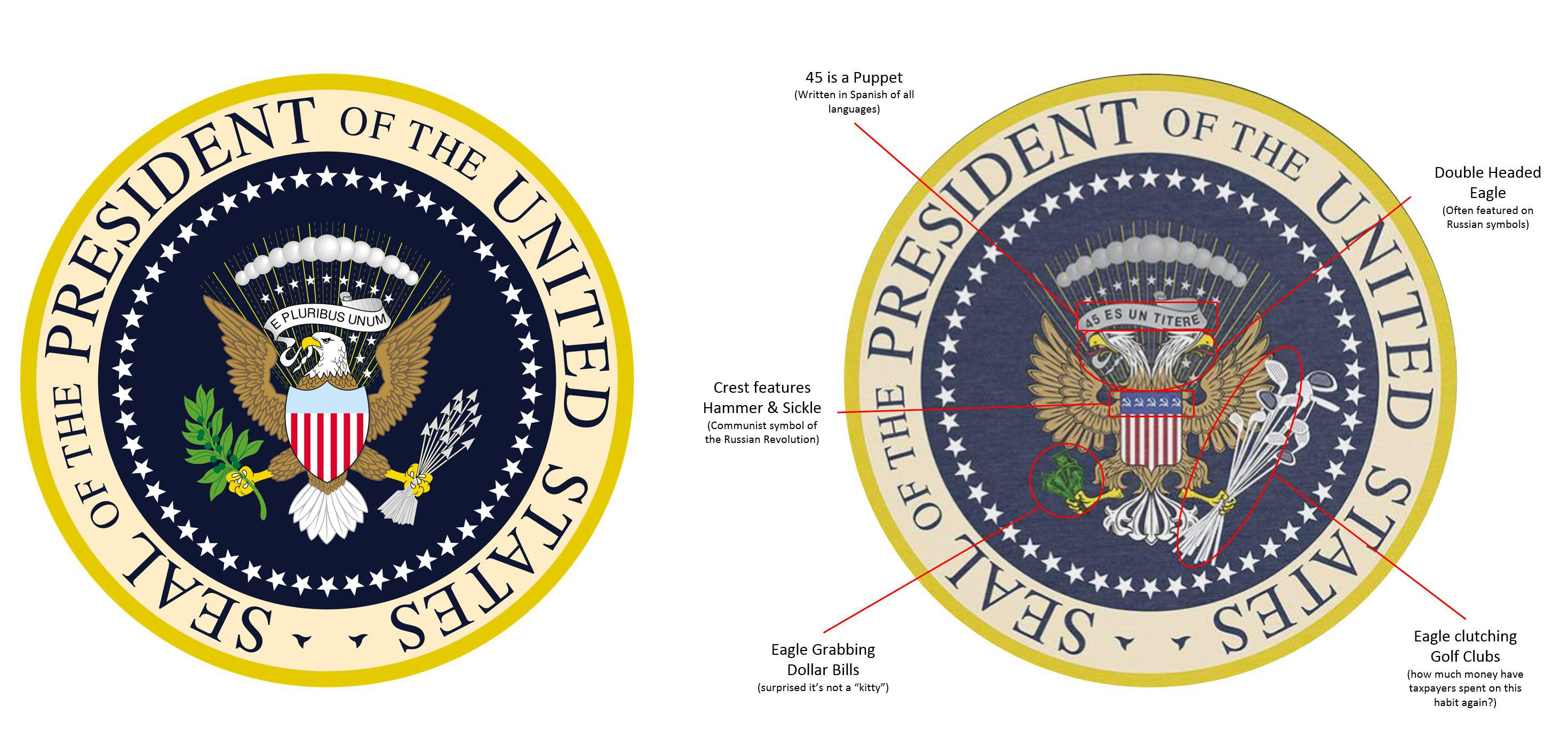 The New Presidential Seal vs Original : PoliticalHumor.