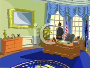 Clipart Illustration of a President in the Oval Office of the.