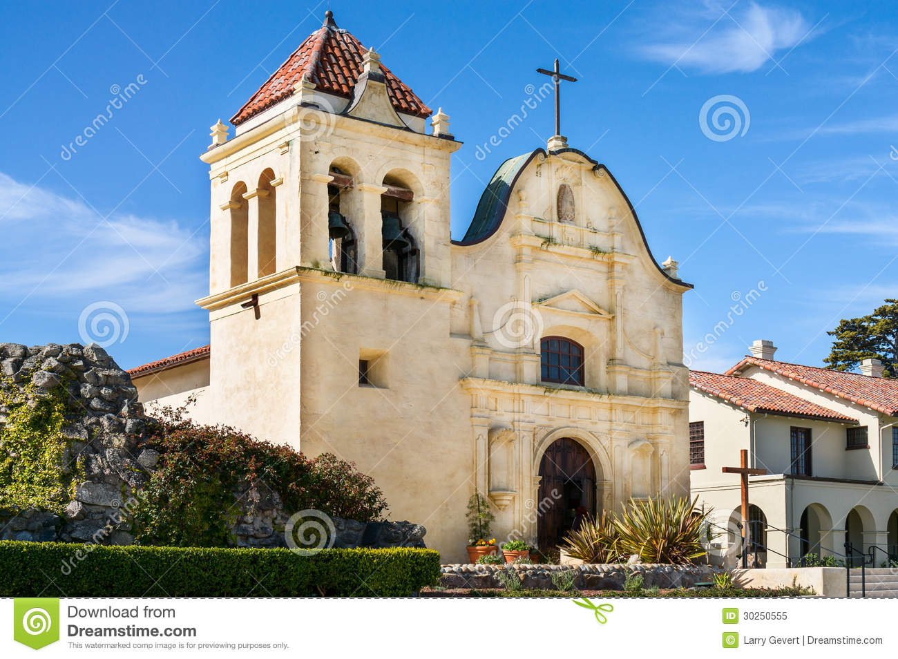 San Carlos Cathedral In Monterey, California Royalty Free Stock.