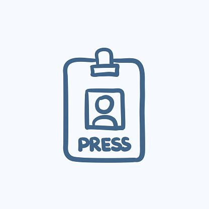 Press pass ID card sketch icon. Clipart Image.