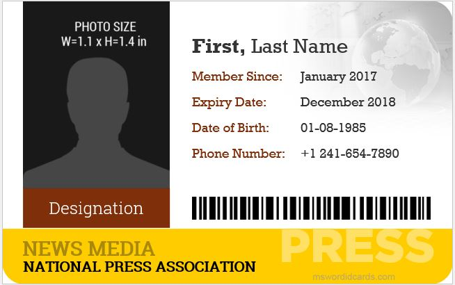 10 Best Press Reporter ID Card Templates.