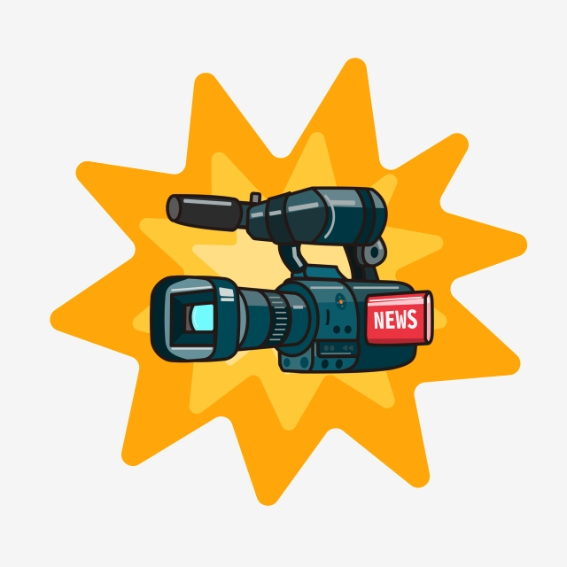 World Press Freedom Day Cartoon Interview Video Camera.