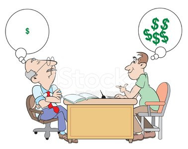 man asking banker for a loan Clipart Image.
