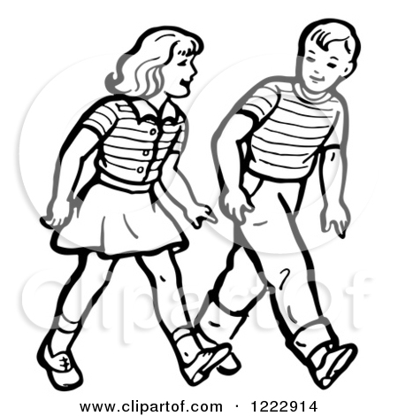 Girl Walking By Trees Clipart Black And White.