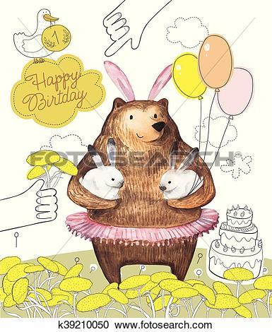 Clipart of Pretty Bird and Cute Cartoon bear with the balloons.