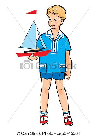 EPS Vector of Sketch of Pretty boy with boat model in his hand in.